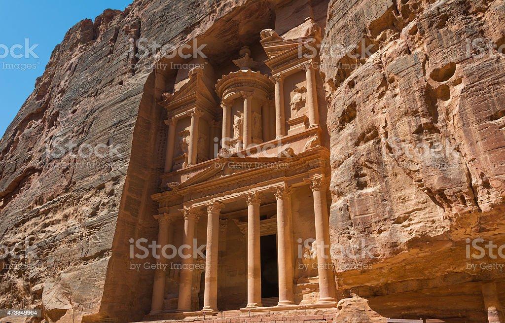 The treasury building Petra in Jordan stock photo