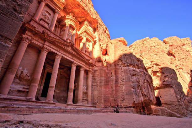 The Treasury (Al Khazneh) of Petra Ancient City at Sunset, Jordan stock photo