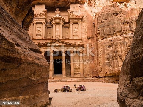 The Main Attraction of One of the Seven Wonders of the World - Red city of Petra in Jordan.