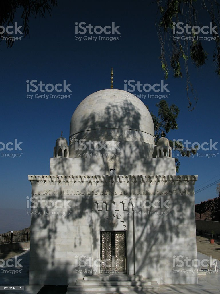 The tree shadow on the mustaali mausoleum, Hoteyb Yemen stock photo