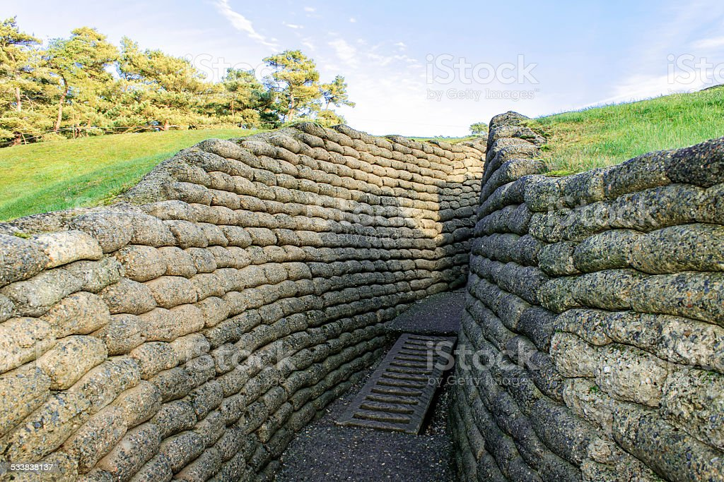 The trenches on battlefield of Vimy ridge France stock photo