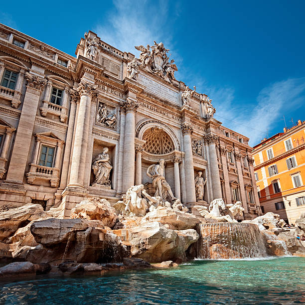 The Trevi fountain in Rome Italy during the day stock photo
