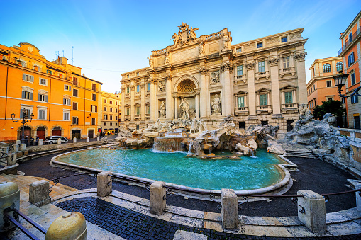 The Trevi Fountain, Rome, Italy, in the morning light