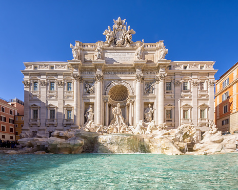 Famous iconic Trevi Fountain at Piazza Di Trevi