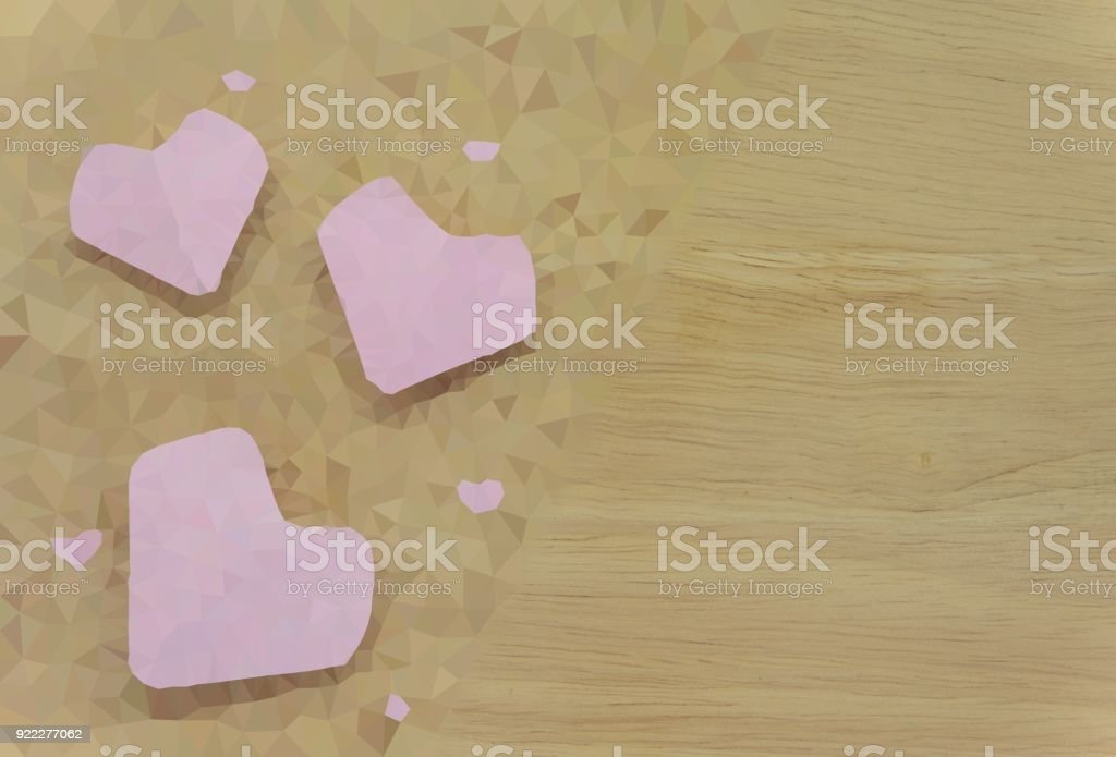 The triangle crystal is the heart in the crosswise decoration with the natural wood grain stock photo
