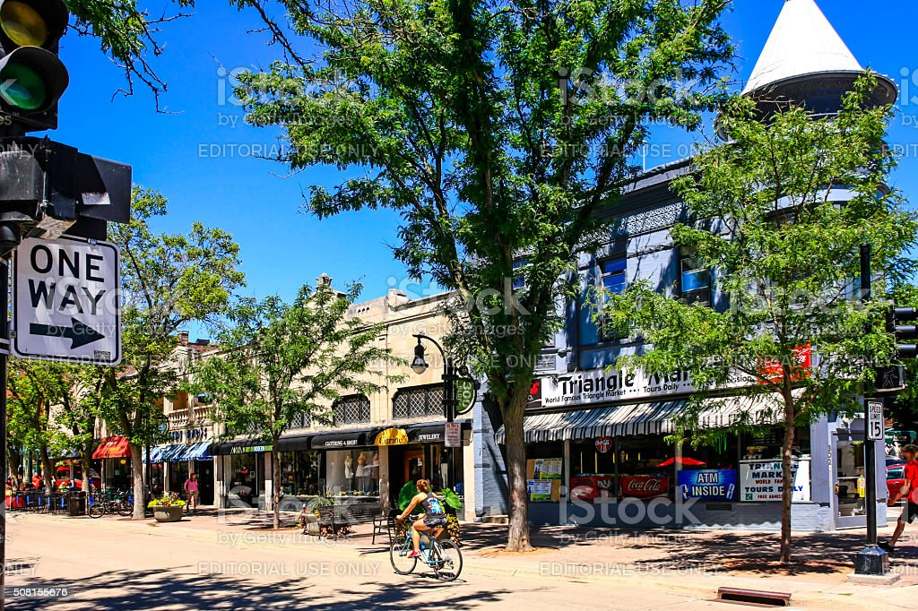 The Triangle Market on State Street in downtown Madison Wisconsin Madison, WI, USA - July 29, 2015: The Triangle Market on State Street in downtown Madison Wisconsin Building Exterior Stock Photo
