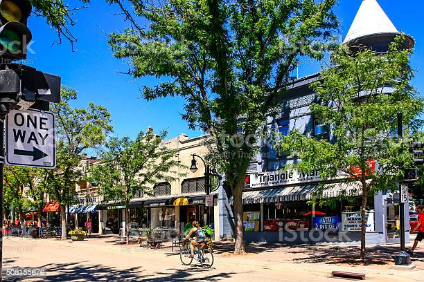 The Triangle Market On State Street In Downtown Madison Wisconsin Stock Photo - Download Image Now