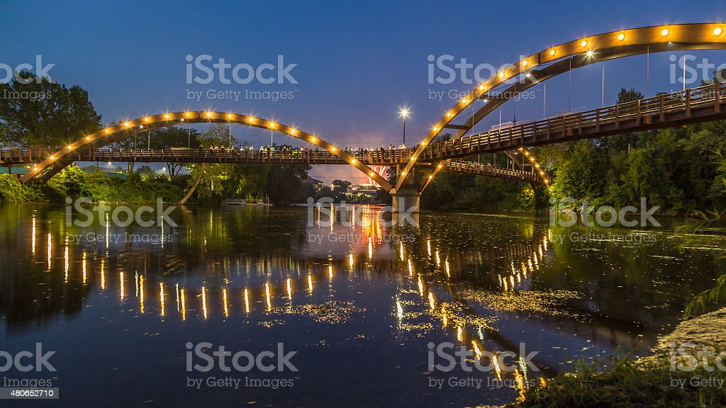 The Tridge in Midland, Michigan stock photo