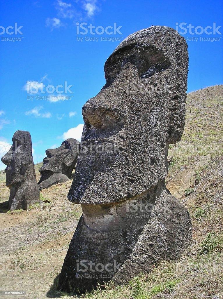 The Trio - Moai Easter Island stock photo
