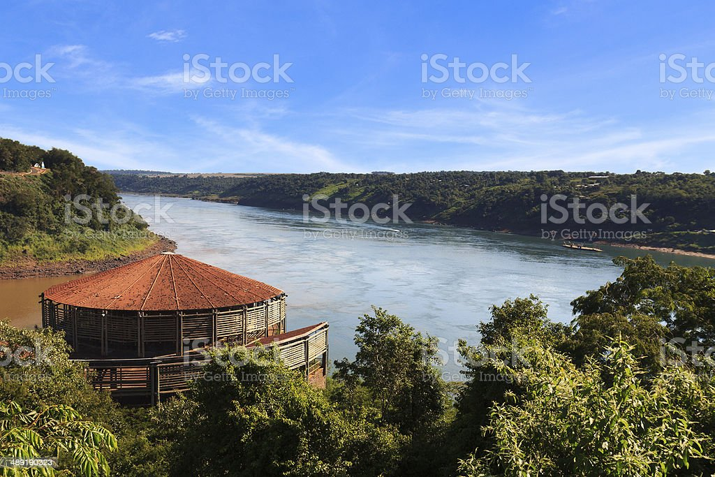 The Triple Frontier from brazilian side stock photo