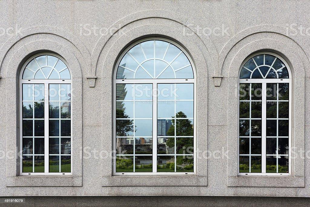 The triple window of macau Museums stock photo