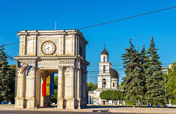 the triumphal arch in chisinau - moldova - moldova stock pictures, royalty-free photos & images
