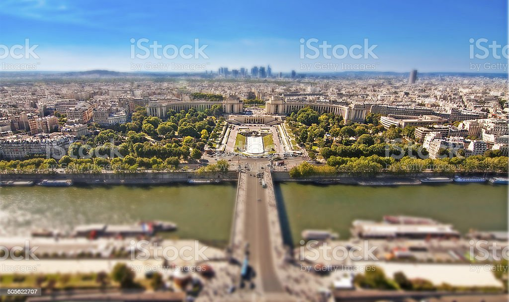 The Trocadero palace and the river Seine, Paris stock photo