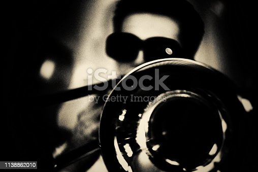 Fine Art, Portrait, Trombone Player, vintage, jazz
