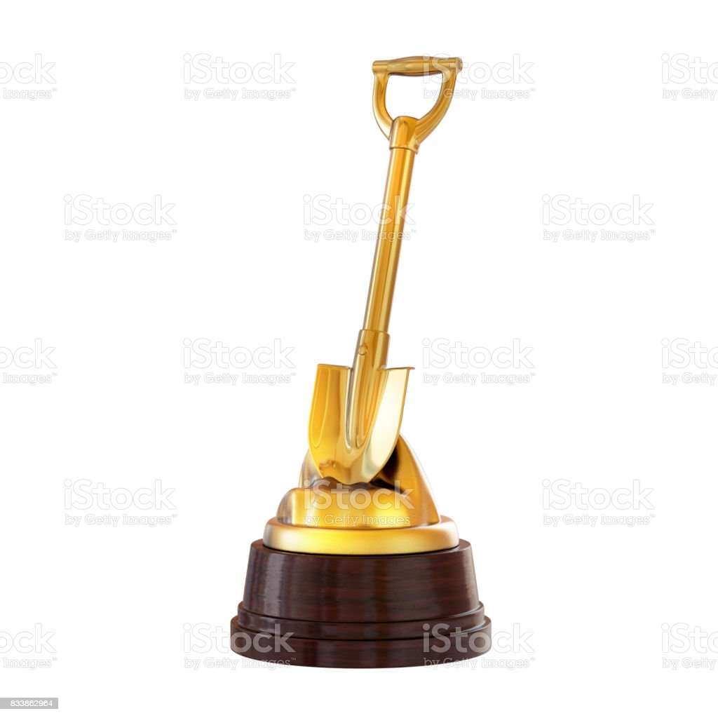 the-trophy-on-the-stand-gold-shovel-isol
