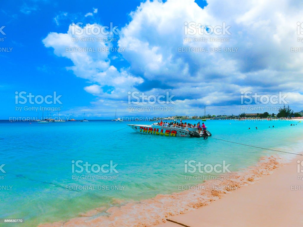 Bridgetown, Barbados - May 11, 2016: The tropical beach, Barbados, Caribbean stock photo