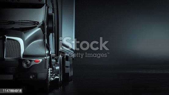 The truck in the background black. 3d render and illustration.