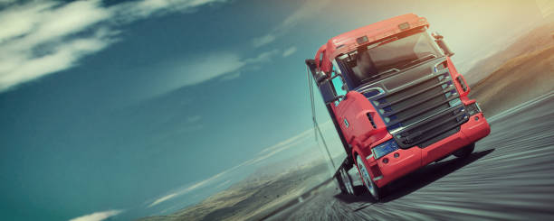 The truck running on the road speed stock photo