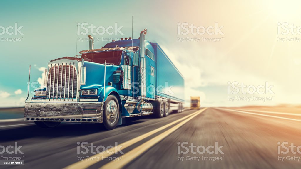 The truck runs on the highway. foto stock royalty-free