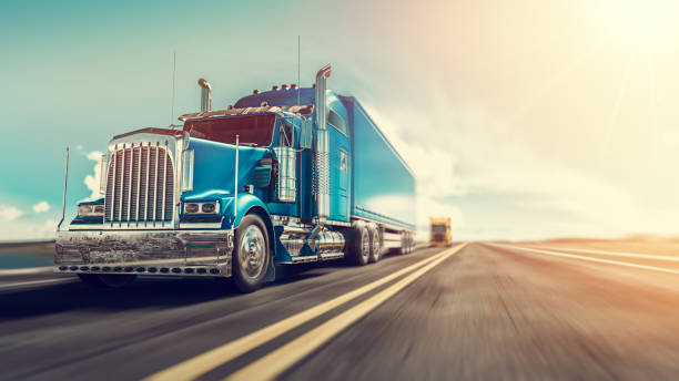 the truck runs on the highway. - highway stock photos and pictures