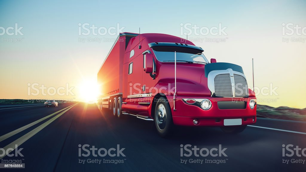 The truck runs on the highway. stock photo