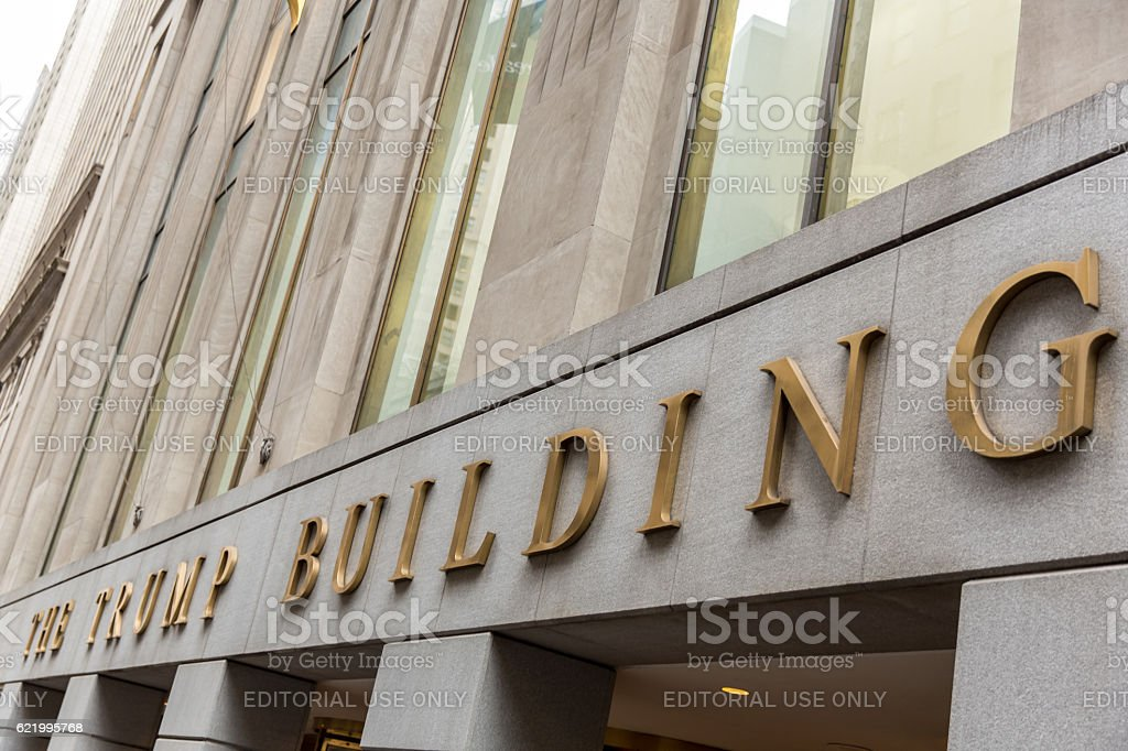The Trump Building on Wall Street, NYC stock photo