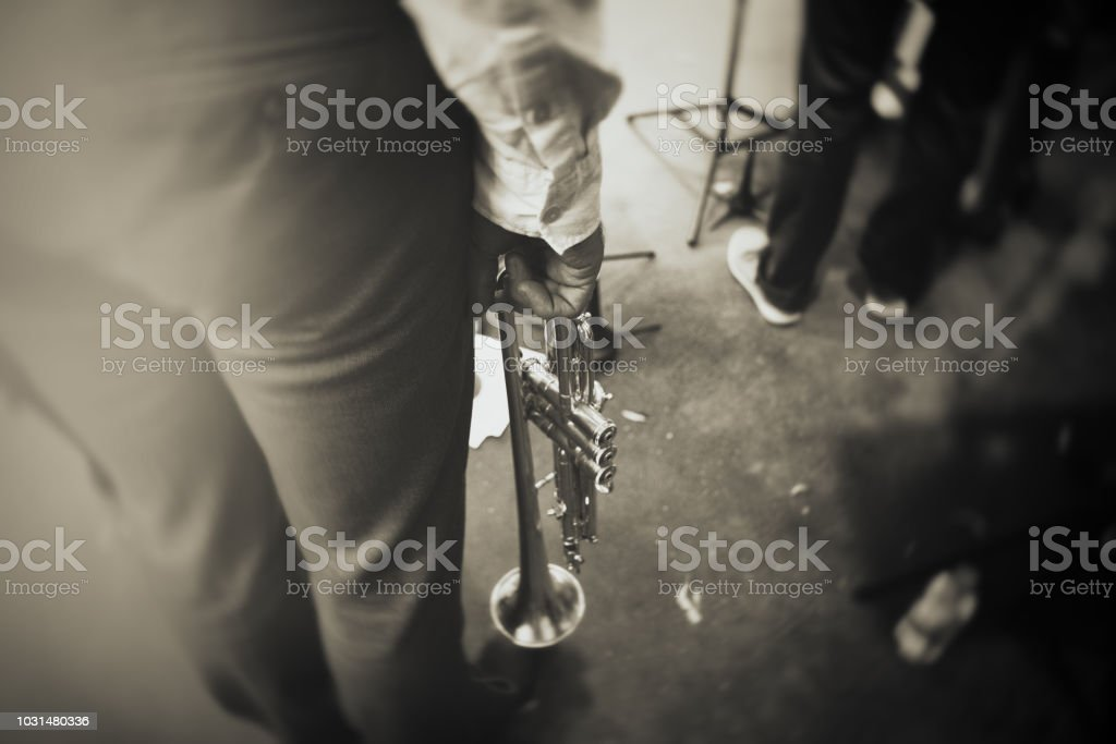 The Trumpet Player on the stage stock photo