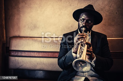 Trumpet, Player, vintage, dark, art, jazz, trumpet player, close-up, music, fun, bar, passion, atmospheric mood,
