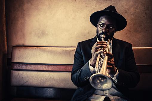Trumpet, Player, vintage, dark, art, jazz, trumpet player, close-up, music, fun, bar, passion, atmospheric mood,