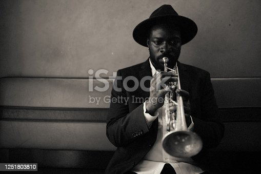 Trumpet, playing, vintage, dark, art, jazz, trumpet player, close-up, music, Bar, passion, alone,