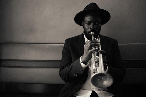 Trumpet, playing, vintage, dark, art, jazz, trumpet player, close-up, music, Bar, passion, alone,