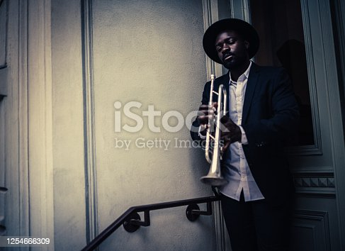 Trumpet, Player, vintage, dark, art, jazz, trumpet player, close-up, music, fun, outdoors, passion, street,