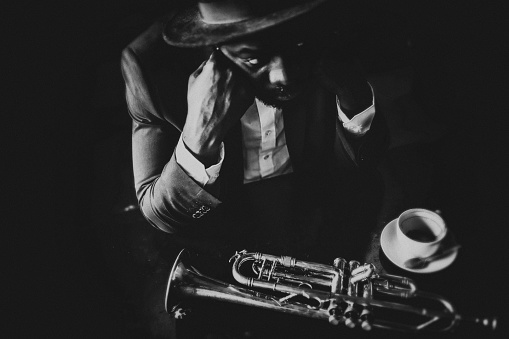 Trumpet, Player, vintage, dark, art, jazz, trumpet player, close-up, music, exhausted, tired, bar, passion, sadness,