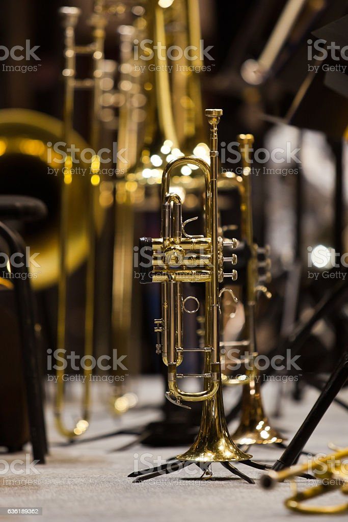 The trumpet standing on the stage stock photo
