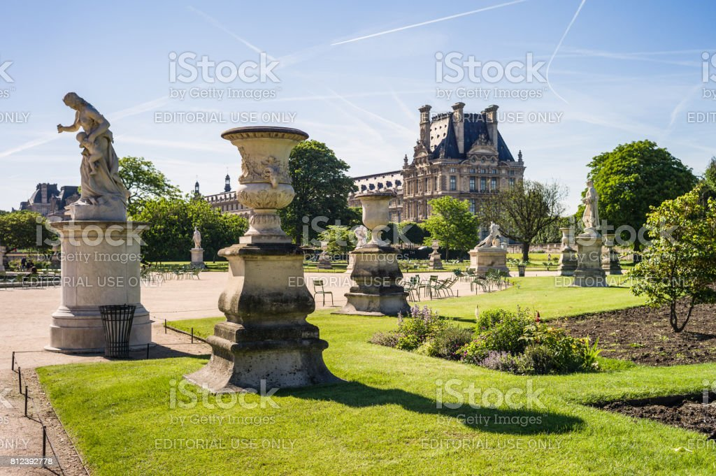 The Tuileries garden in Paris by a sunny morning. stock photo