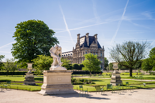 The Tuileries garden in Paris by a sunny morning.