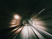 A blurry subway tunnel