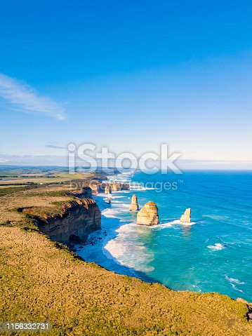 An aerial view of the Twelve Apostles along the Great Ocean Road in Victoria, Australia