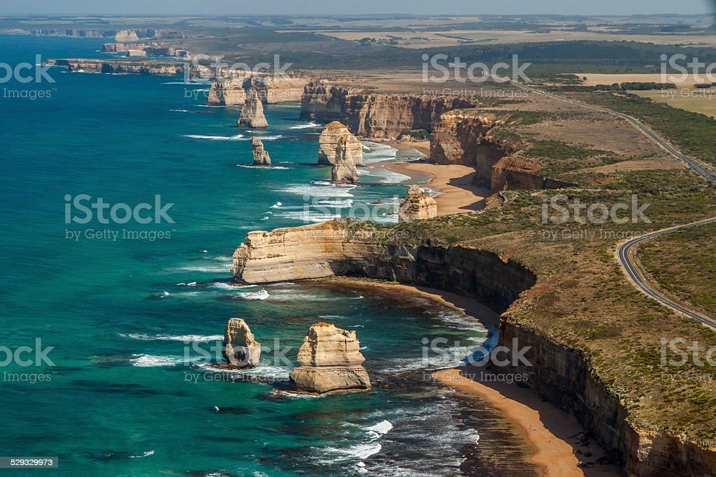 The Twelve Apostles and Great Ocean Road from the air stock photo