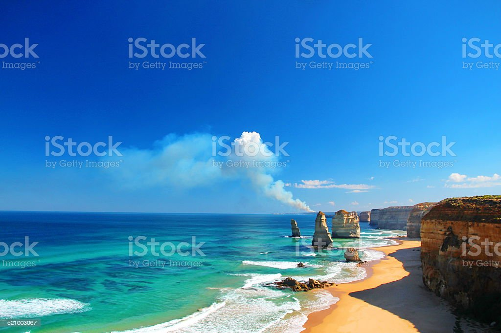The Twelve Apostles, Australia, and a bushfire stock photo