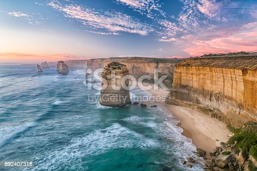 Sunset at the famous Twelve Apostles, Great Ocean Road, Victoria, Australia. Nikon D810. Converted from RAW.