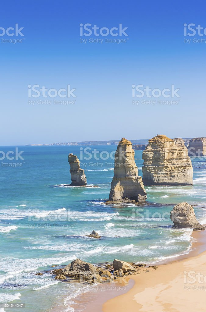 The twelve apostles in Victoria Australia stock photo