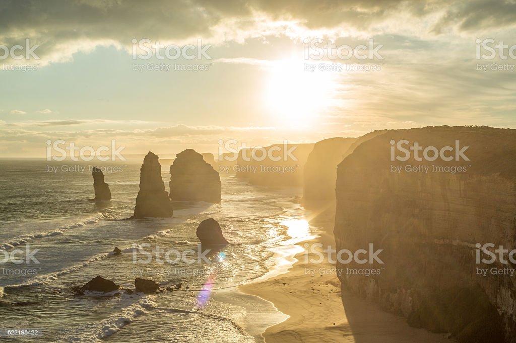 The Twelve Apostles sea rocks at sunset stock photo