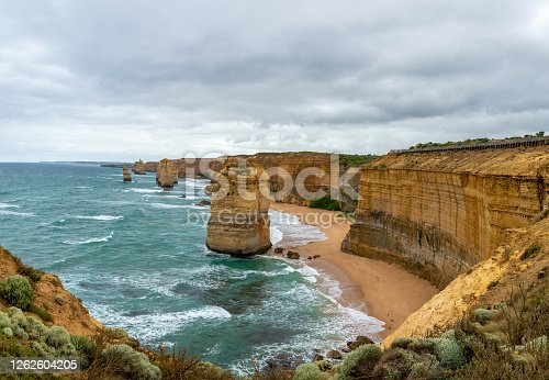 The Twelve Apostles, Great Ocean Road, Victoria, Australia. The 12 Apostles are located 275 kilometres west of Melbourne, approximately a four-hour drive along the Great Ocean Road.