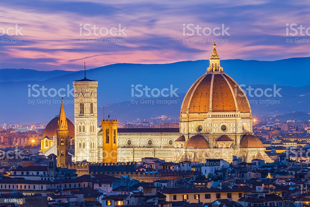 The twilight of Florence in Tuscany, Italy stock photo