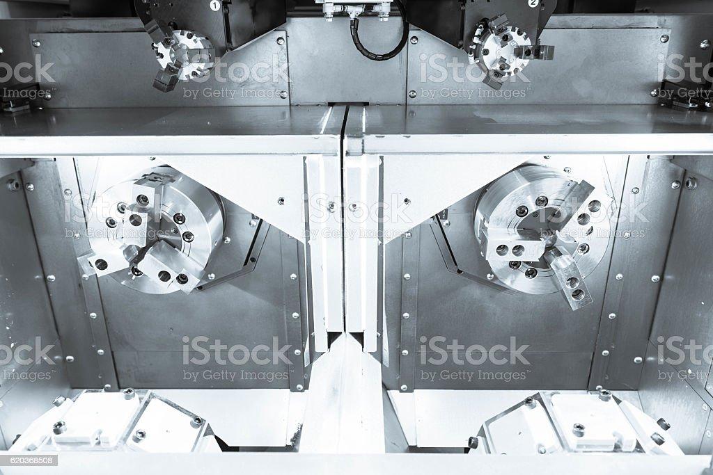 The twin spindle of CNC lath machine zbiór zdjęć royalty-free