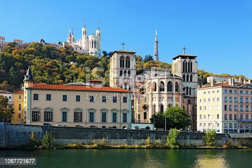 The Saint-Jean-Baptiste cathedral and the Fourvière basilica in Lyon.
