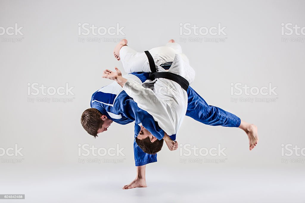 The two judokas fighters fighting men stock photo