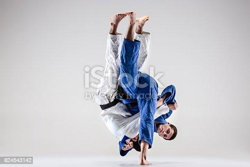 istock The two judokas fighters fighting men 624543142