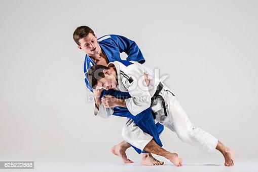 istock The two judokas fighters fighting men 625222868